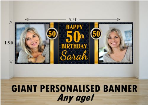 Personalised GIANT Large Black & Gold Diamond Happy Birthday PHOTO Poster Banner N72 ANY AGE